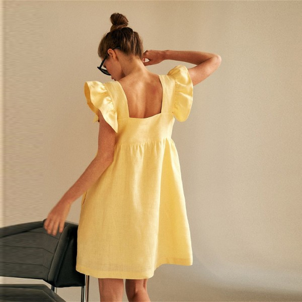 Woman Square Collar Butterfly SleeveSquare Collar Butterfly Sleeve Backless High Waist Loose
