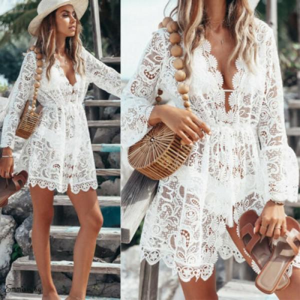 New Summer Women Bikini Cover Up Floral Lace Hollow Beach Dress Hot
