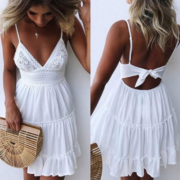 Women Summer Sexy Bow Backless V-neck Mini Beach Dresses