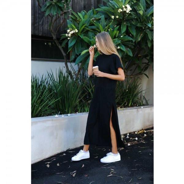 Plus Size Women Summer Cotton Maxi T Shirt Long Dresses