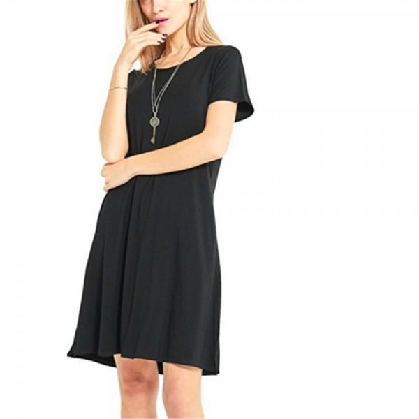 Womens O-Neck Summer Short Sleeve Loose Mini Dress