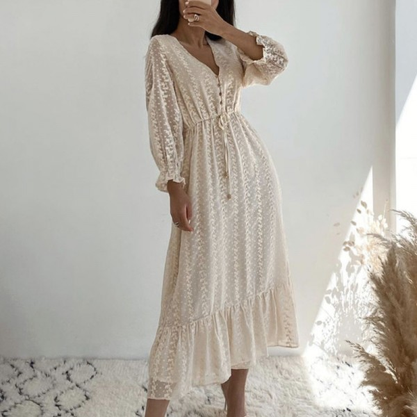 Lace Embroidery Dress With Sashes V Neck Butterfly Sleeve Dresses A Line Dresses
