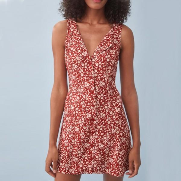 Women V Neck Mini Dresses Floral Print Sleeveless Dress Buttons Up Dress Vestidos