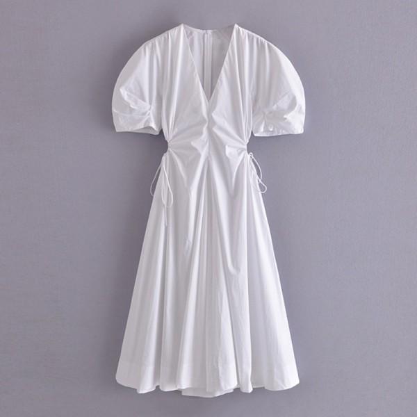 Women V Neck Hollow Out Midi Dress Short Sleeve Zipper Dresses High Waist  Dress