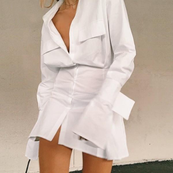 V Neck Long Sleeve Shirt Dress Bandage Women Mini A Line Office  Casual Tunic Dresses