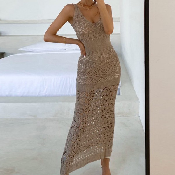 Maxi Dress Women Off Shoulder Casual V Neck Sleeveless Bodycon Dresses