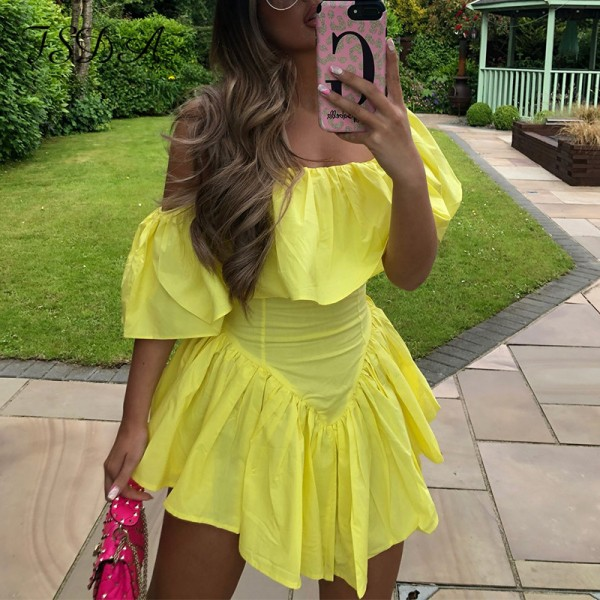 Y2k Wrap Sleeveless Dress Mini Ruffles A Line Off Shoulder Backless Dresses