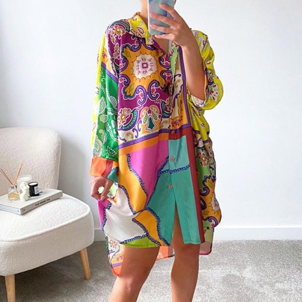 V Neck Shirt Dress Women Long Sleeve Y2K Print Loose Sexy Casual Dresses