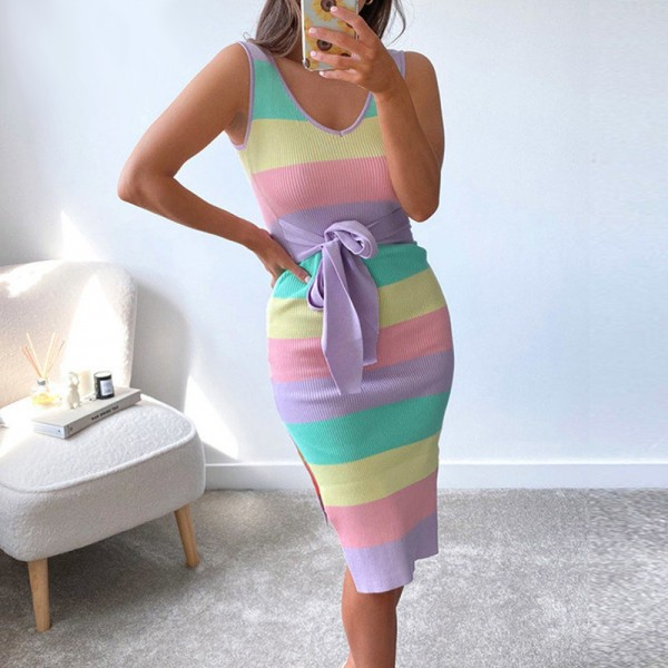 Stripe Knitted Bodycon Dress Midi Women V Neck Bandage Casual Sleeveless Dresses