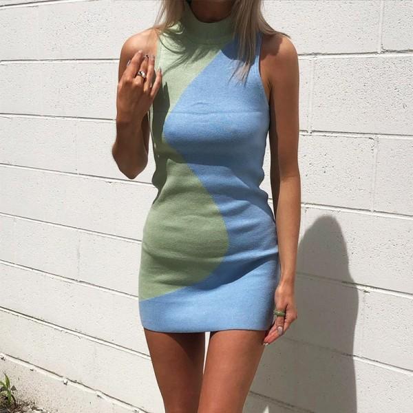 Y2K Knit Bodycon Dress Women Sleeveless Turtleneck Sexy Mini Dresses