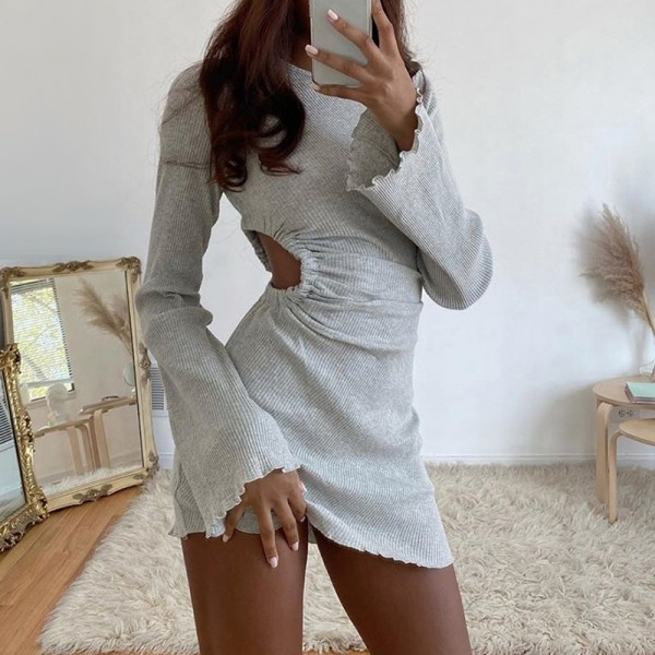 Autumn Draped Flare Sleeve Cut-Out Dresses Knitting Round Neck Ruched Dress