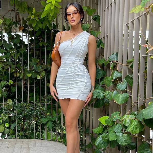 Elegant One Shoulder Slim Women Dress Bodycon  Sleeveless Summer Dresses