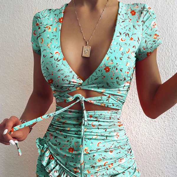 Floral Print Fashion Tie Up Wrap Dress Summer Holiday Ruffles Sundress Ruched Women's Dress