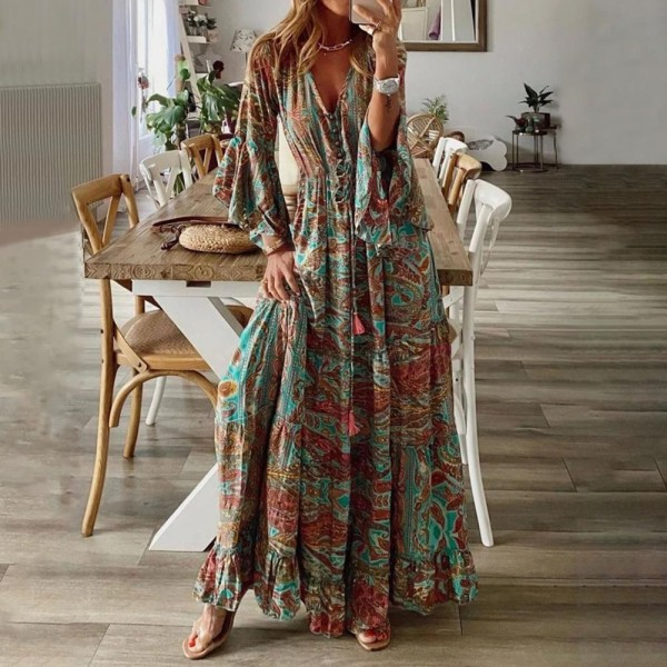 Boho Dress Long Dress Women Casual Dress V-Neck Floral Print   Party Elegant Sundress