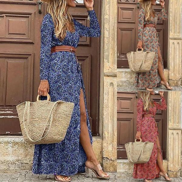 2021 Elegant Boho Women V Neck Long Sleeve Paisley Print Belt High Split Party Maxi Dress