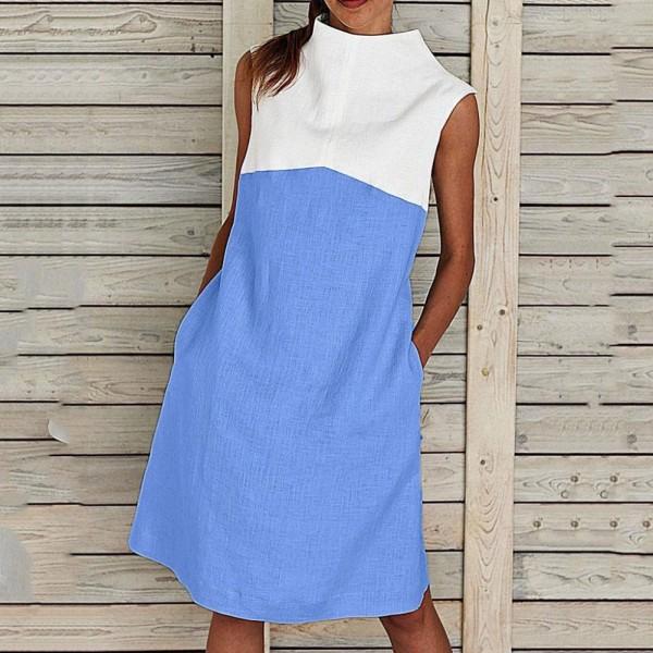 2021 Women Casual Sleeveless Loose Knee-length Dress Summer Beach Dress Vestido