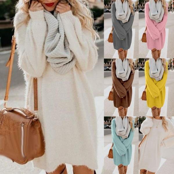 Autumn Solid Color O Neck Plush Sweater Fluffy Loose Knee-length Dress Knitted Casual Clothes