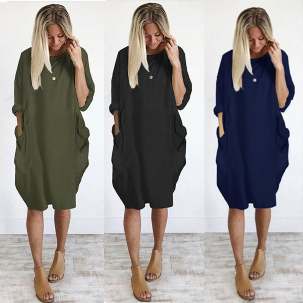 Women Casual Solid Color O Neck Long Sleeve  Knee-Length Baggy Dress Streetwear Casual Dresses
