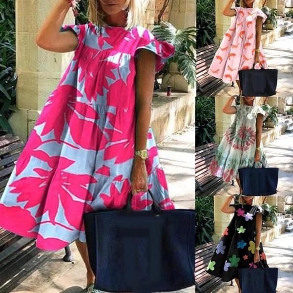 Women Dress Casual Summer O Neck Short Sleeve Floral Print Large Hem A Line Dress