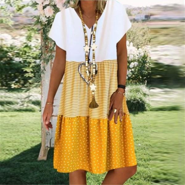 Women Boho V Neck Short Sleeve Loose Knee-length Dress Female Beach Dresses