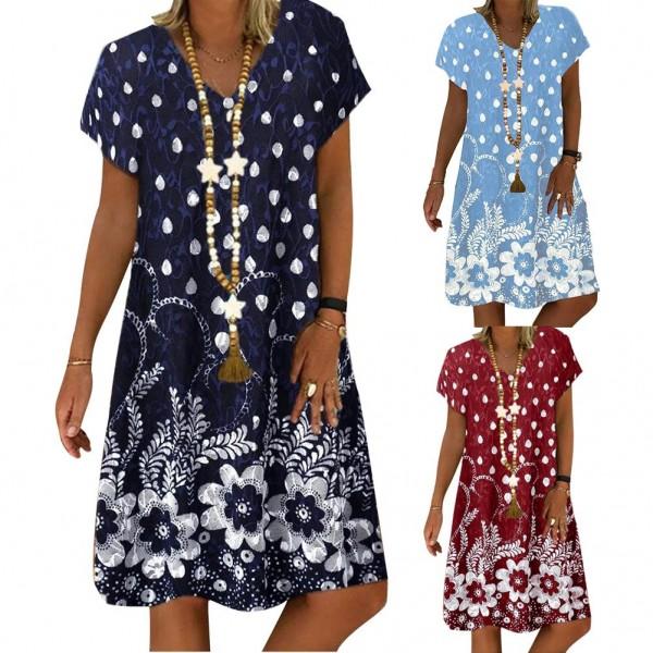 S-4XL Stylish Women V Neck Short Sleeve Floral Loose Knee-length Dress Vacation Beach Dress