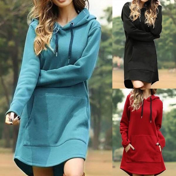 Women Hoodie Dress Casual Long Sleeve Pocket Drawstring Loose Hoodie Mini Dress