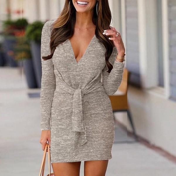 Fashion Elegant Women Solid Color V Neck Long Sleeve Waist Bandage Knitted Bodycon Mini Dress