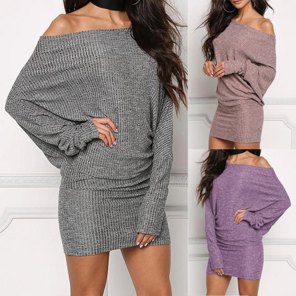 Solid Color Long Batwing Sleeve One Shoulder Bodycon Ribbed Loose  Mini Dress For Women's Clothings