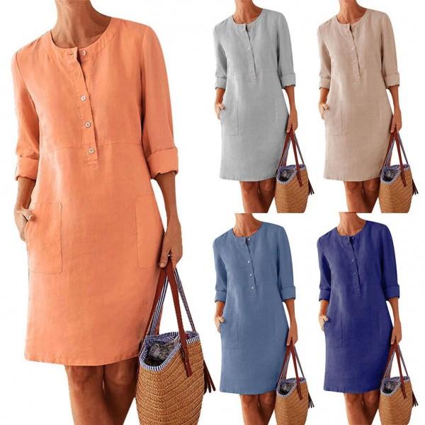 Plus Size Casual dress women Cotton Linen Ladies Summer Dress