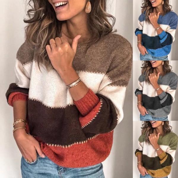 Women Striped Sweater Autumn Winter O Neck Long Sleeve Sweater