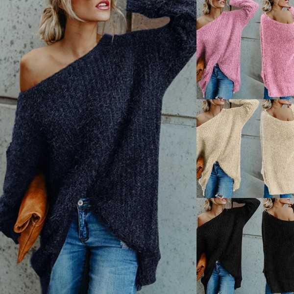 Women Sexy Off Shoulder Knitted Sweater Solid Loose Flare Sleeve Pullover Jumpers