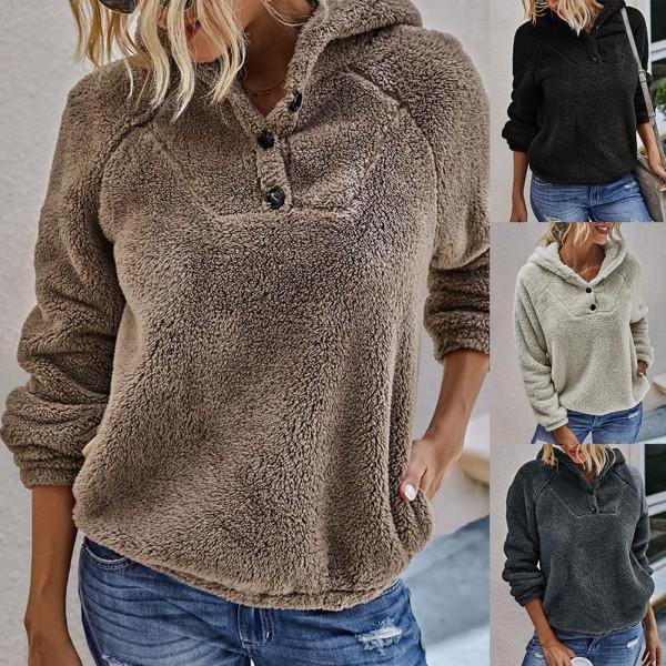 Women Casual Sweatshirts Warm Plush Solid Color Long Sleeve Hooded Sweatshirt