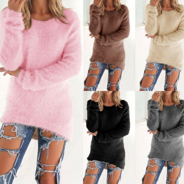 Women Autumn Winter O-Neck Long Sleeve Loose Pullover Sweater