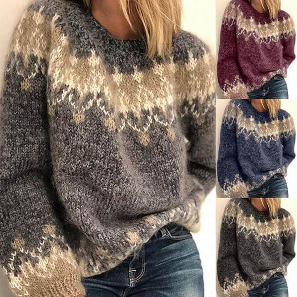 Loose Knitted Sweater Women Autumn Winter Long Sleeve O Neck Knitted Sweater