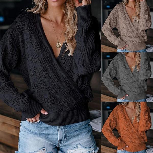 Women Sweater Deep V Neck Wrap Hollow Long Sleeve Sweater