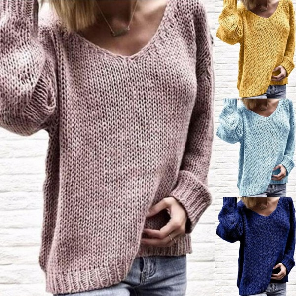 Women Warm Sweater Autumn V-Neck Fashion Casual Loose Pullovers Sweater